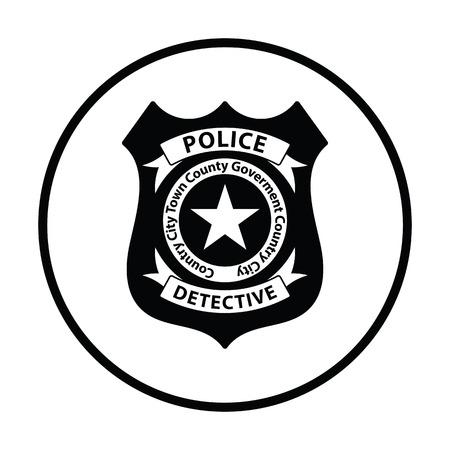 Ikona policji policji. Cienki okrąg. Ilustracji wektorowych.