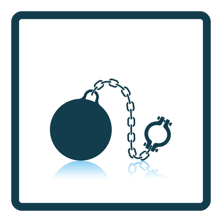 fetter: Fetter with ball icon. Shadow reflection design. Vector illustration. Illustration