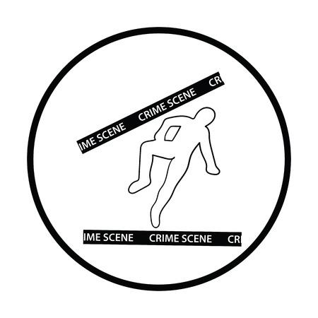 scene: Crime scene icon. Thin circle design. Vector illustration.