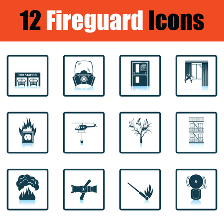firefighting: Set of fire service icons. Shadow reflection design. Vector illustration.
