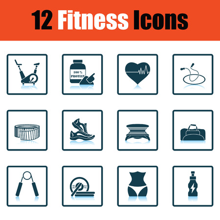box weight: Fitness icon set. Shadow reflection design. Vector illustration.