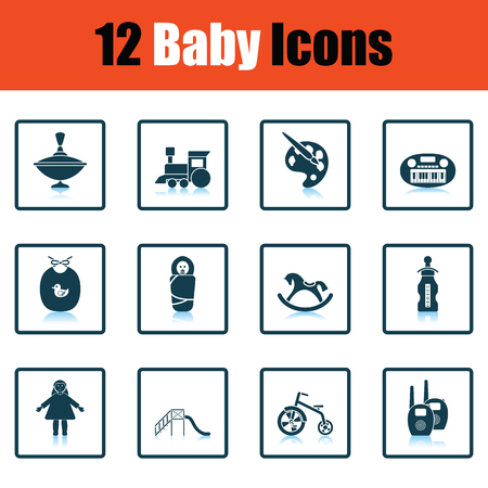 bootees: Set of baby icons. Shadow reflection design. Vector illustration.