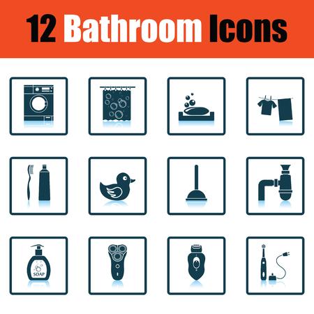 shower curtain: Bathroom icon set. Shadow reflection design. Vector illustration. Illustration