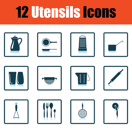 masher: Utensils icon set. Shadow reflection design. Vector illustration.
