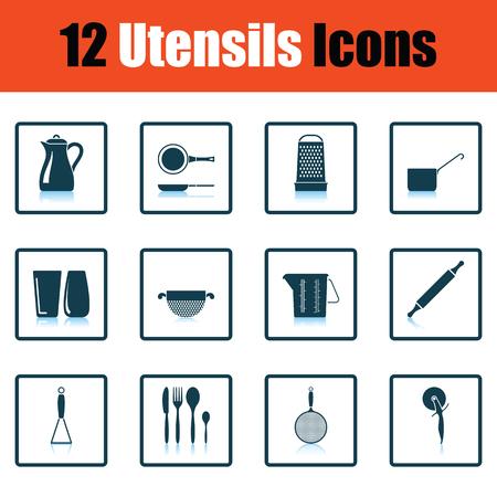 masher: Utensils icon set. Shadow reflection design. Vector illustration.