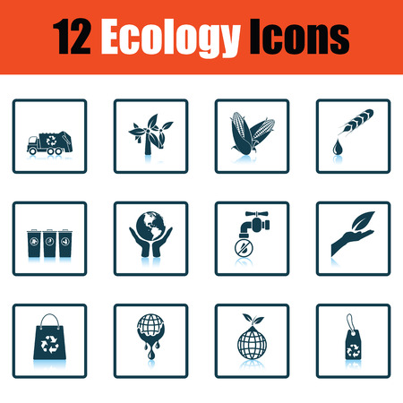 water mill: Ecology icon set. Shadow reflection design. Vector illustration.