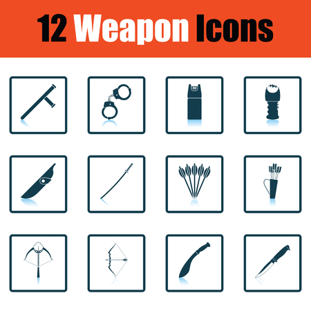 scheide: Set of twelve weapon icons. Shadow reflection design. Vector illustration.