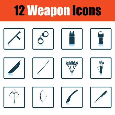 Set of twelve weapon icons. Shadow reflection design. Vector illustration.