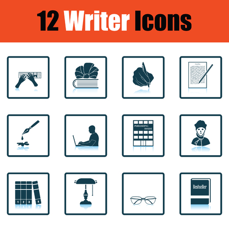writer: Set of writer icons. Flat design tennis icon set in ui colors. Vector illustration.