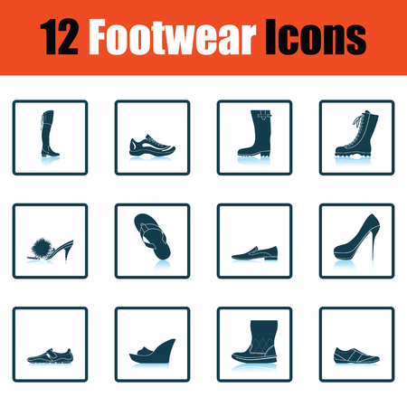 hessian boots: Set of footwear icons. Shadow reflection design. Vector illustration.