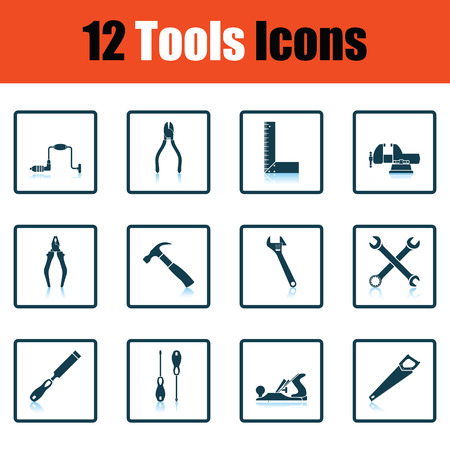 vice grip: Tools icon set. Shadow reflection design. Vector illustration.