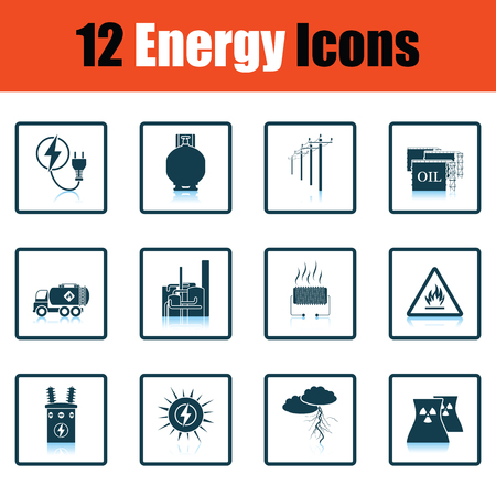 Energy icon set. schaduw ontwerp. Vector illustratie. Stock Illustratie