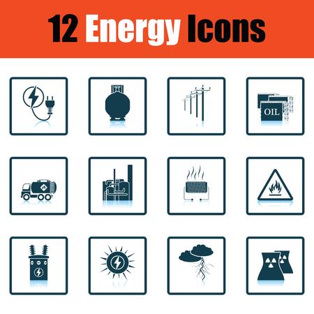 power transformer: Energy icon set. Shadow reflection design. Vector illustration.