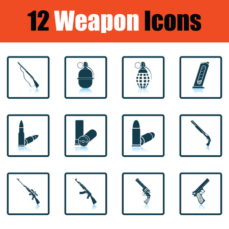 winchester: Set of twelve weapon icons. Shadow reflection design. Vector illustration.
