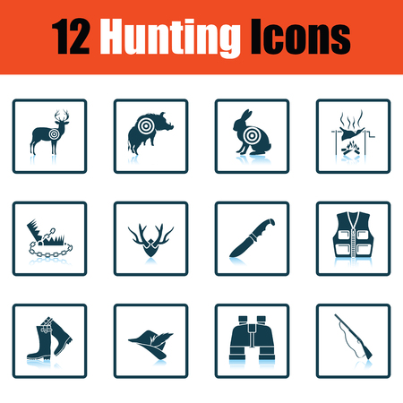 mantrap: Hunting icon set. Shadow reflection design. Vector illustration. Illustration