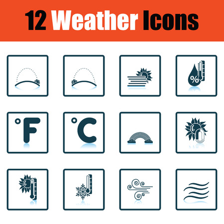 humid: Set of weather icons. Flat design tennis icon set in ui colors. Vector illustration.
