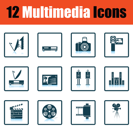multimedia: Set of multimedia icons. Shadow reflection design. Vector illustration.