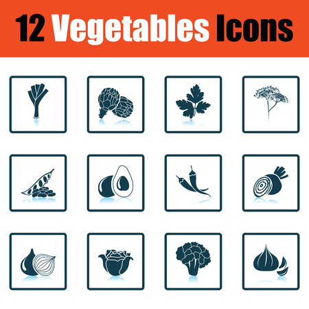 chilly: Vegetables icon set. Shadow reflection design. Vector illustration.
