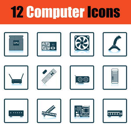 harddrive: Set of computer icons. Shadow reflection design. Vector illustration.