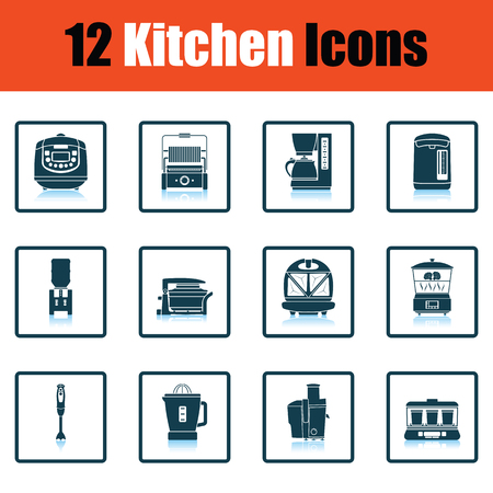 double boiler: Kitchen icon set. Shadow reflection design. Vector illustration.