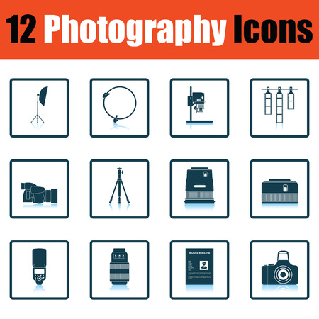 enlarger: Photography icon set. Shadow reflection design. Vector illustration.