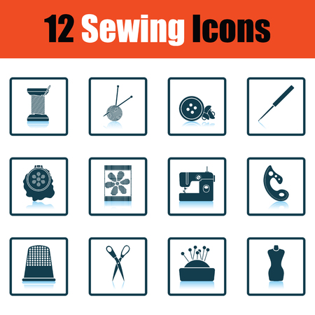 needle cushion: Set of twelve sewing icons. Shadow reflection design. Vector illustration.