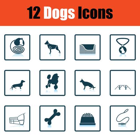Set of dog breeding icons. Shadow reflection design. Vector illustration. Illustration