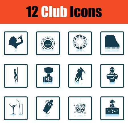 striptease: Set of twelve Night club icons. Shadow reflection design. Vector illustration.