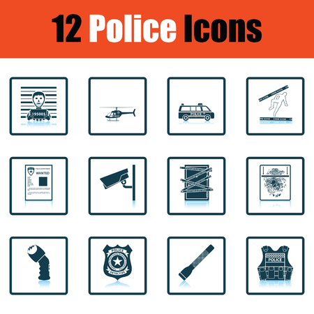 flak: Set of police icons. Shadow reflection design. Vector illustration.