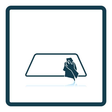 wipe: Wipe car window icon. Shadow reflection design. Vector illustration.