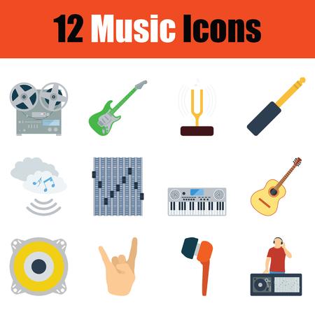 tuning fork: Music icon set. Color flat design. Vector illustration.