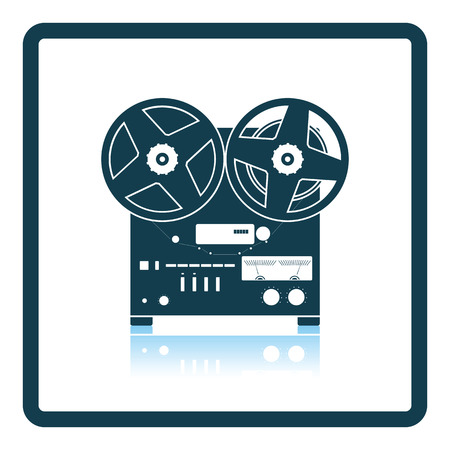 recorder: Reel tape recorder icon. Shadow reflection design. Vector illustration. Illustration