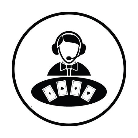dealer: Casino dealer icon. Thin circle design. Vector illustration.