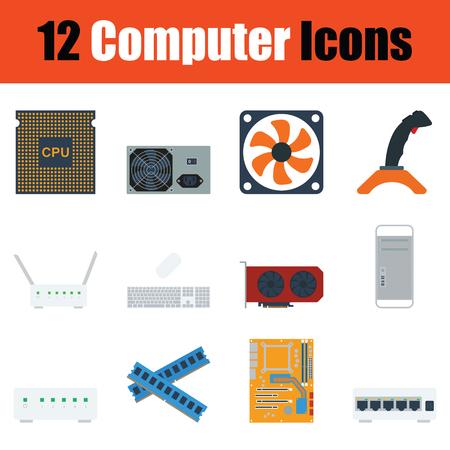 lcd monitor printer: Computer icon set. Color flat design. Vector illustration.