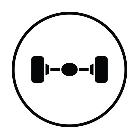 axle: Car rear axle icon. Thin circle design. Vector illustration.