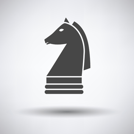 chess horse: Chess horse icon on gray background with round shadow. Vector illustration.