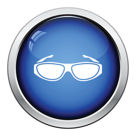 protective eyewear: Poker sunglasses icon. Glossy button design. Vector illustration.