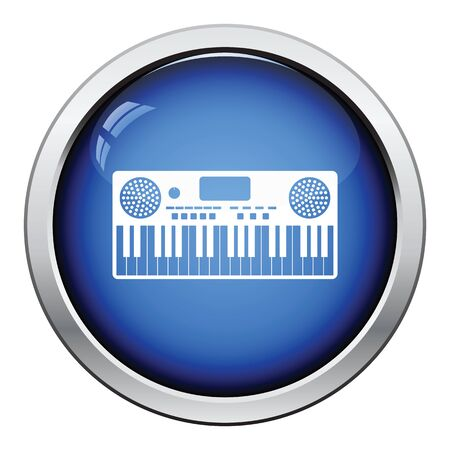 synthesizer: Music synthesizer icon. Glossy button design. Vector illustration.