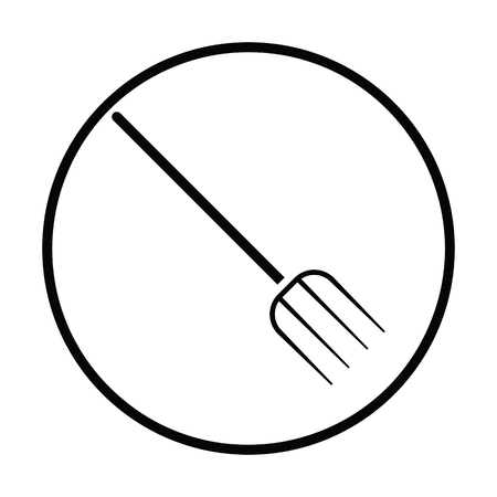 raking: Pitchfork icon. Thin circle design. Vector illustration. Illustration
