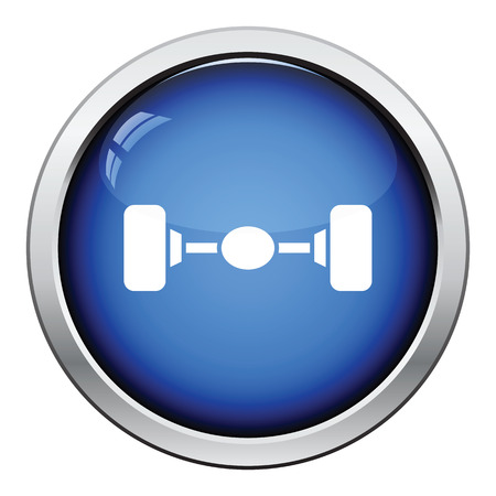 axle: Car rear axle icon. Glossy button design. Vector illustration.
