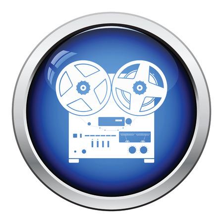 tape recorder: Reel tape recorder icon. Glossy button design. Vector illustration. Illustration