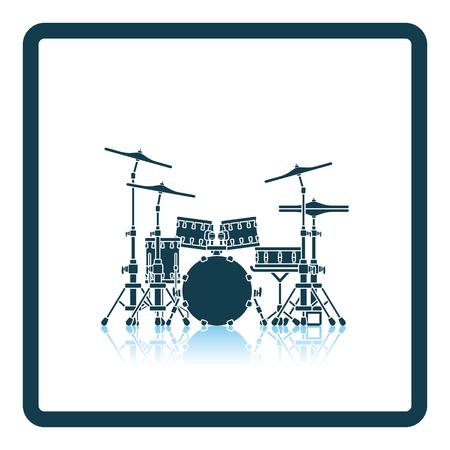 school kit: Drum set icon. Shadow reflection design. Vector illustration.