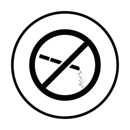 cigar shape: No smoking icon. Thin circle design. Vector illustration.