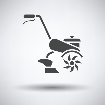 Garden tiller icon on gray background with round shadow. Vector illustration.