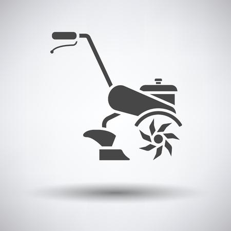 labranza: Garden tiller icon on gray background with round shadow. Vector illustration.