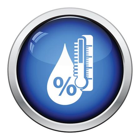 湿度のアイコン。光沢のあるボタンのデザイン。ベクトルの図。