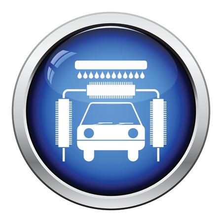 automatic: Car wash icon. Glossy button design. Vector illustration.