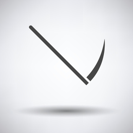 the scythe: Scythe icon on gray background with round shadow. Vector illustration. Vectores