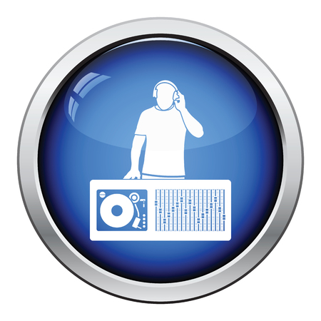 disk jockey: DJ icon. Glossy button design. Vector illustration.