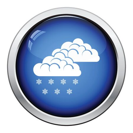 meteorology: Snow icon. Glossy button design. Vector illustration.